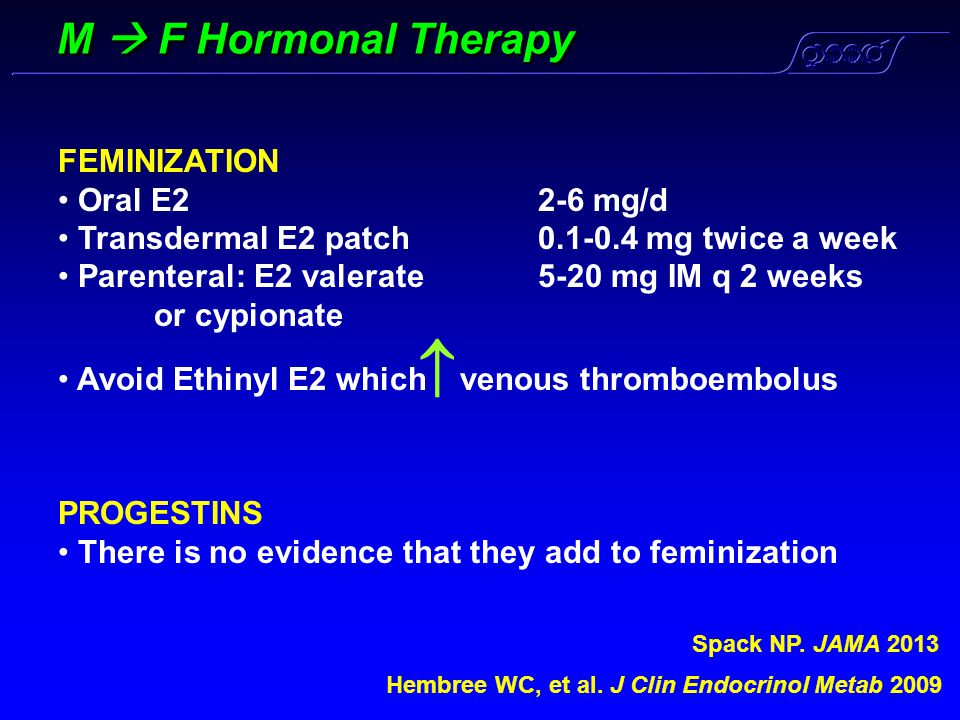 M  F Hormonal Therapy FEMINIZATION Oral E2 2-6 mg/d