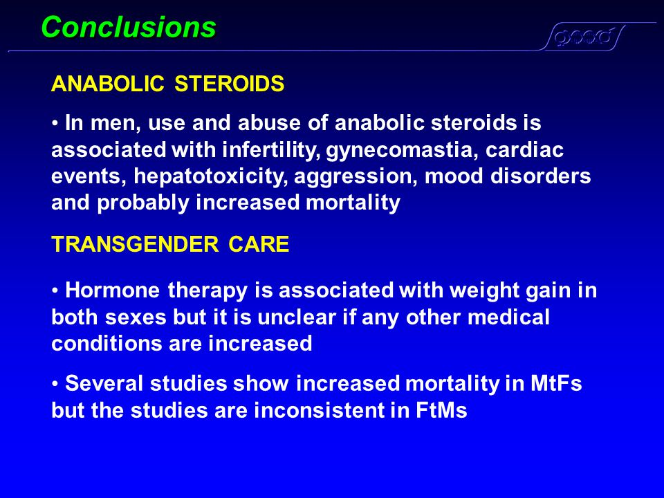 Conclusions ANABOLIC STEROIDS