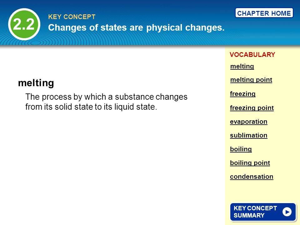 2.2 melting Changes of states are physical changes.