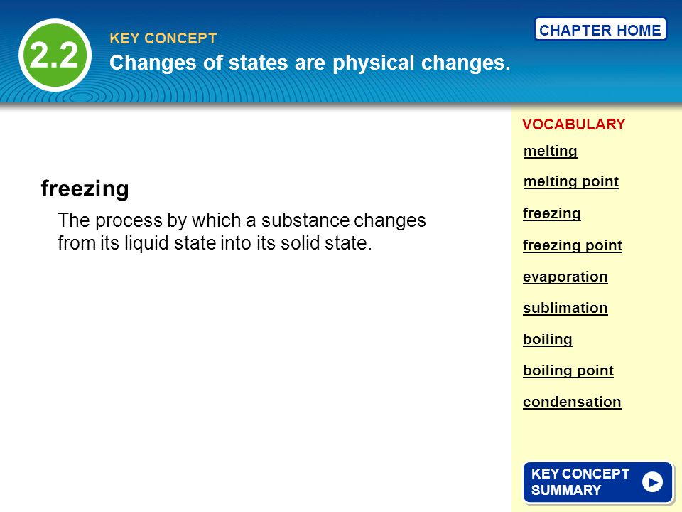 2.2 freezing Changes of states are physical changes.