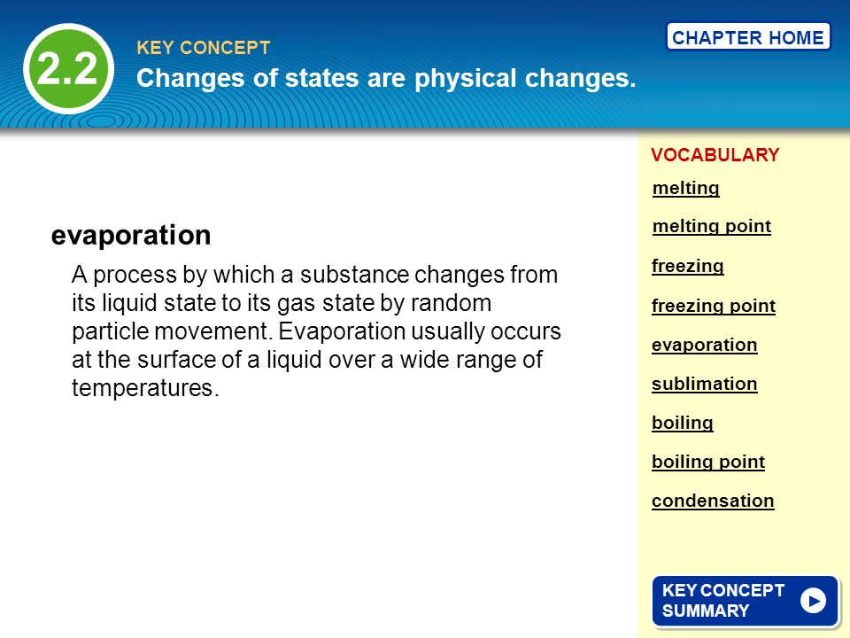 2.2 evaporation Changes of states are physical changes.