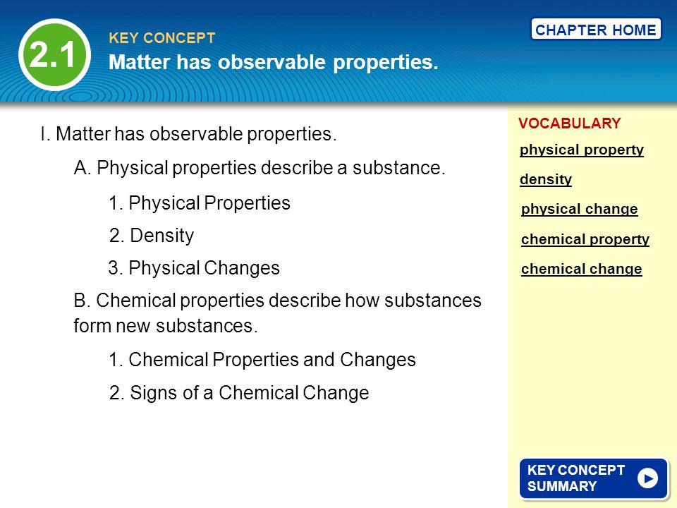 2.1 Matter has observable properties.