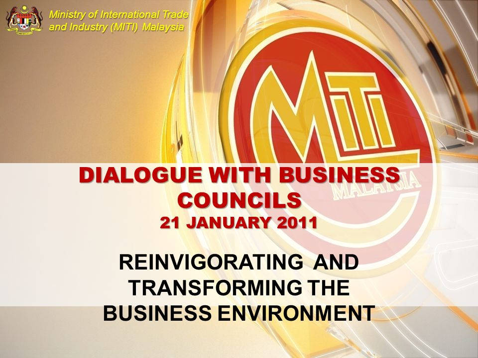 DIALOGUE WITH BUSINESS COUNCILS 21 JANUARY 2011