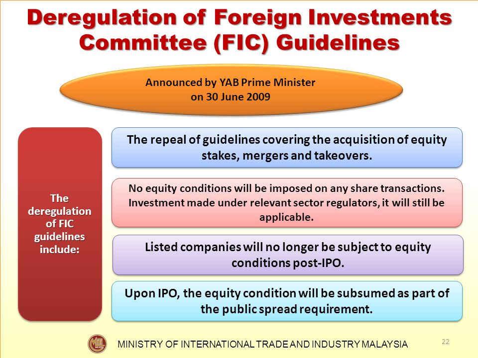 Deregulation of Foreign Investments Committee (FIC) Guidelines