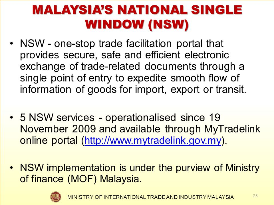 MALAYSIA'S NATIONAL SINGLE WINDOW (NSW)