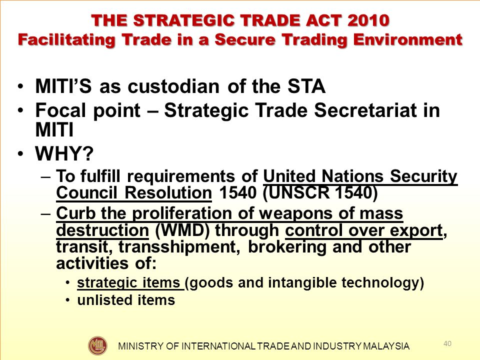MITI'S as custodian of the STA