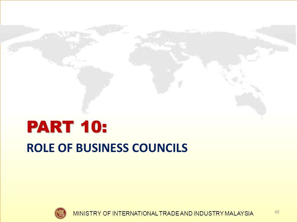 PART 10: ROLE OF BUSINESS COUNCILS