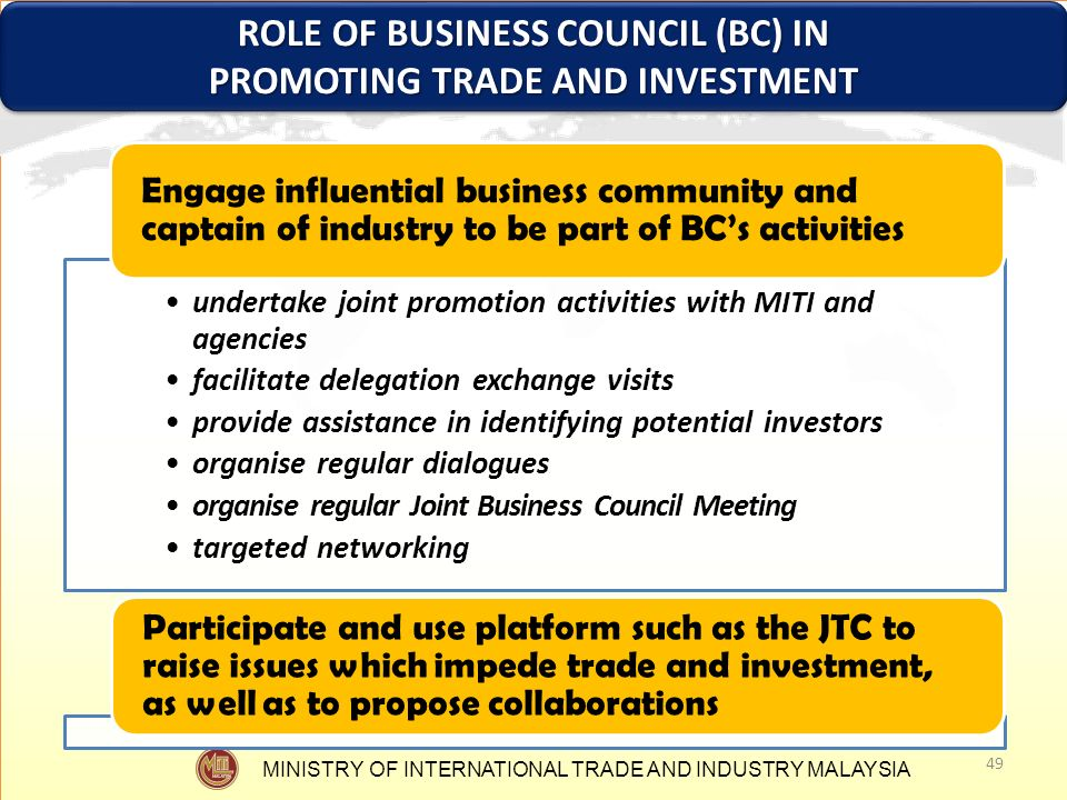 ROLE OF BUSINESS COUNCIL (BC) IN PROMOTING TRADE AND INVESTMENT