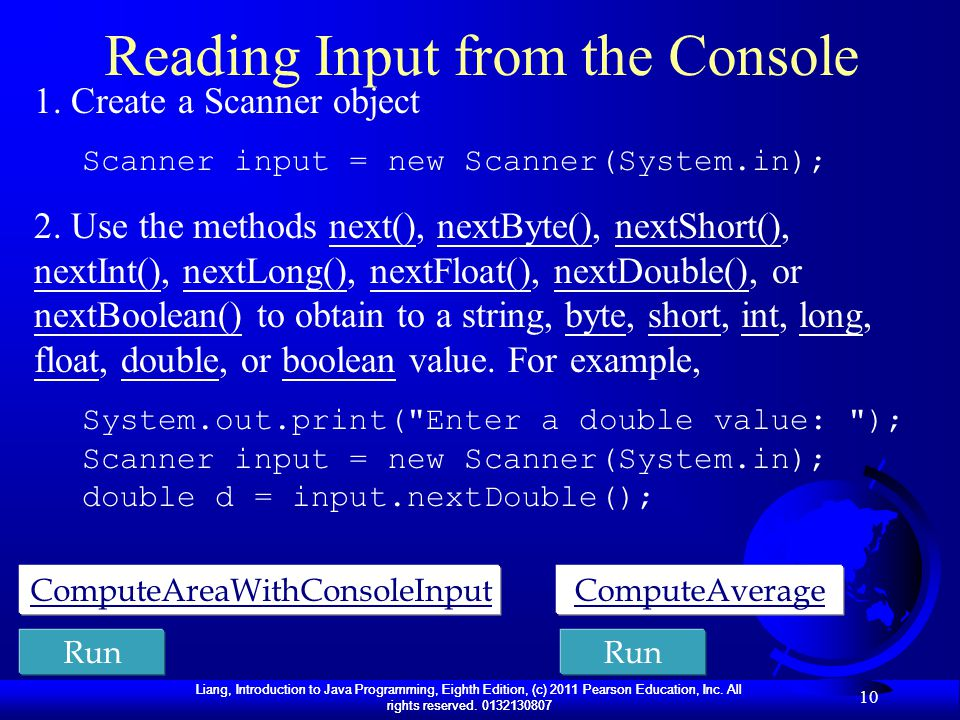 Reading Input from the Console