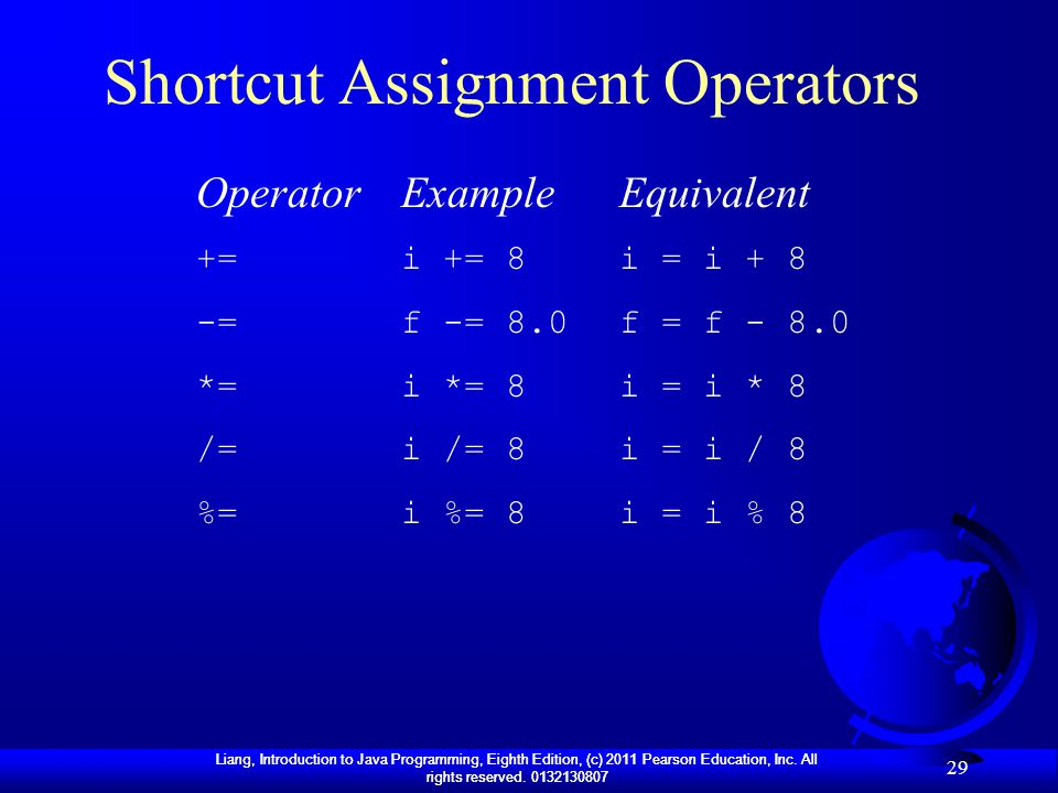 Shortcut Assignment Operators