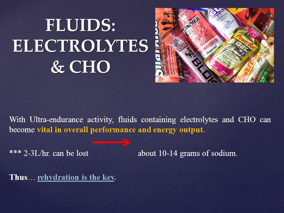 FLUIDS: ELECTROLYTES & CHO