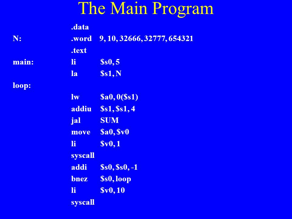 The Main Program .data N: .word 9, 10, 32666, 32777, 654321 .text
