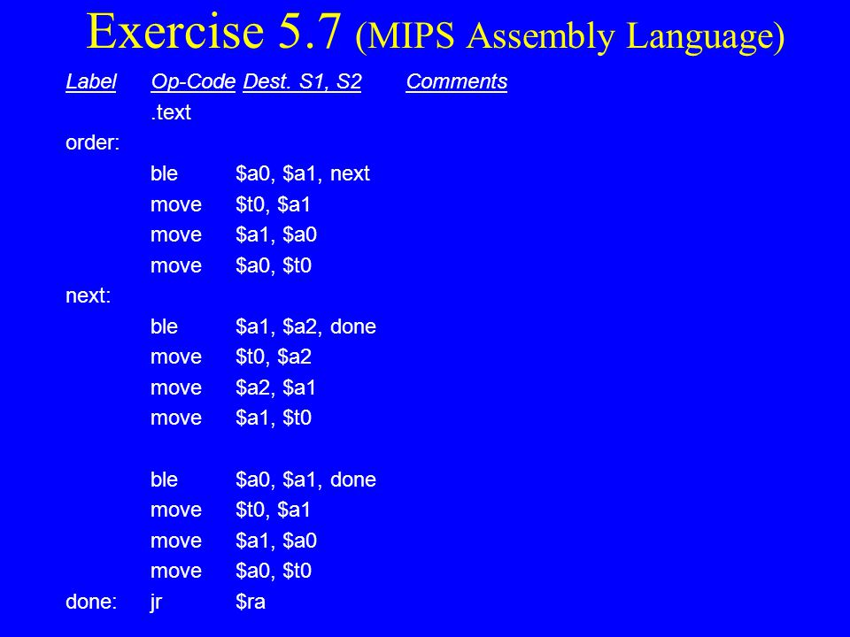 Exercise 5.7 (MIPS Assembly Language)