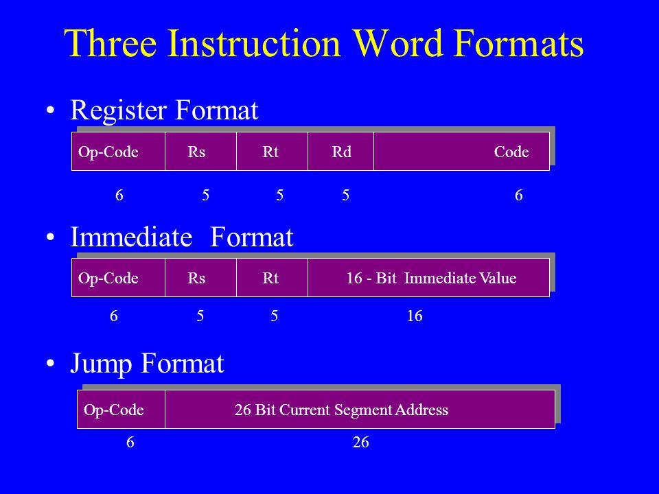 Three Instruction Word Formats