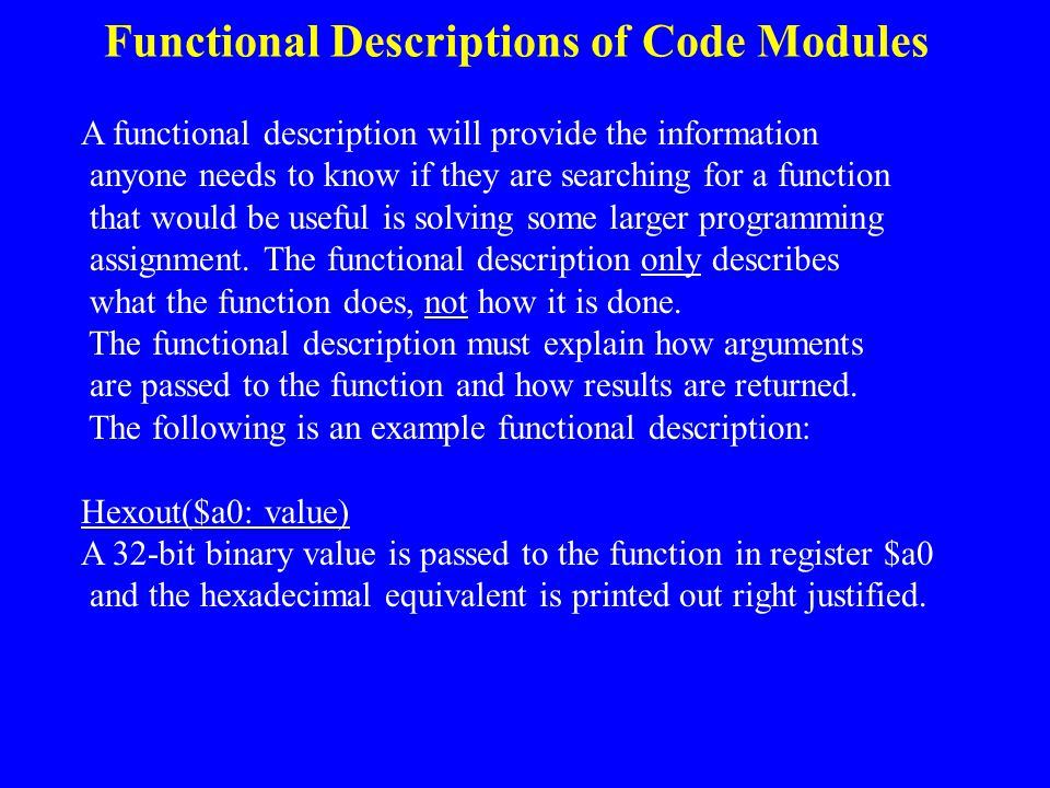 Functional Descriptions of Code Modules
