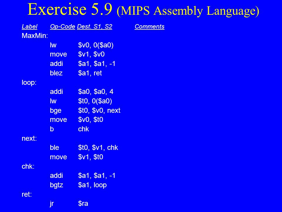Exercise 5.9 (MIPS Assembly Language)