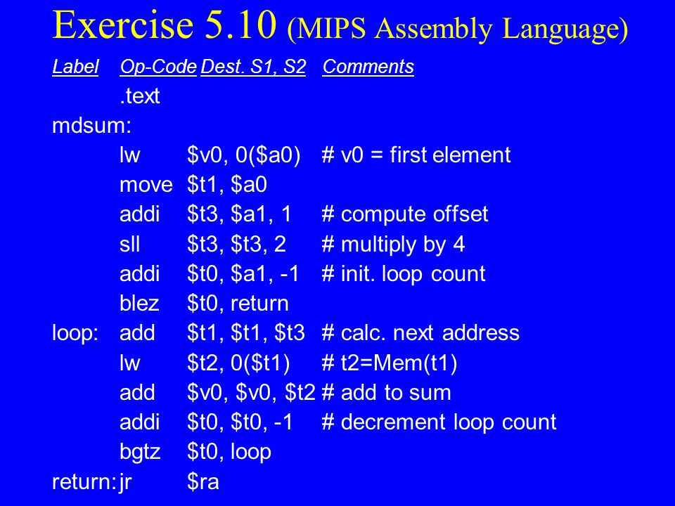 Exercise 5.10 (MIPS Assembly Language)