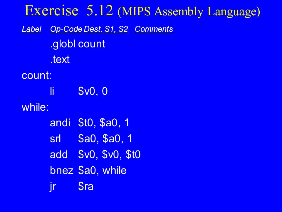 Exercise 5.12 (MIPS Assembly Language)