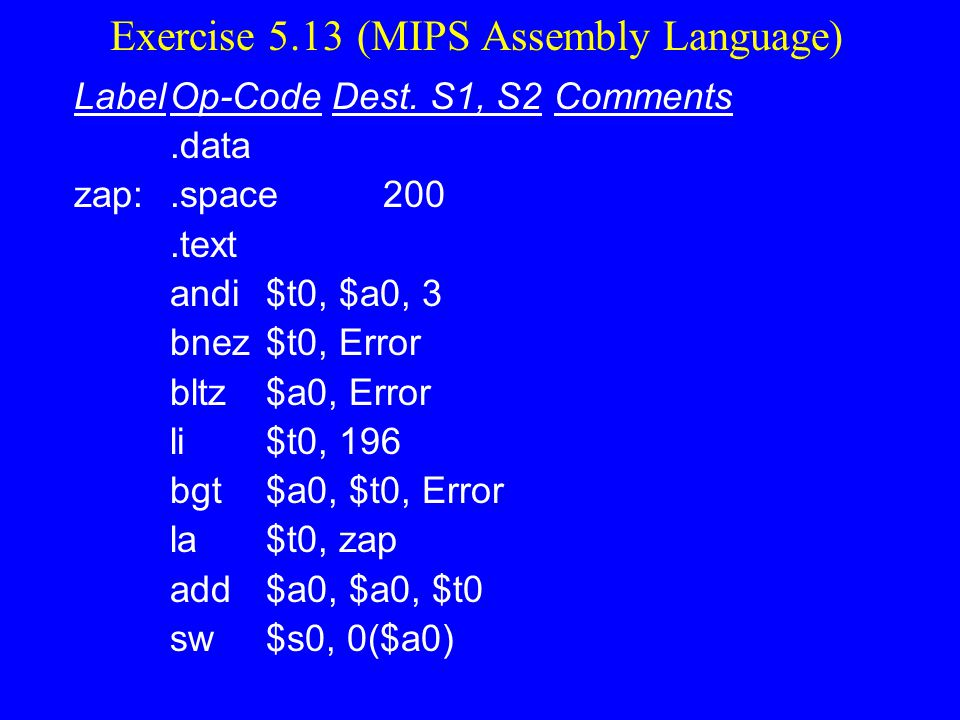 Exercise 5.13 (MIPS Assembly Language)