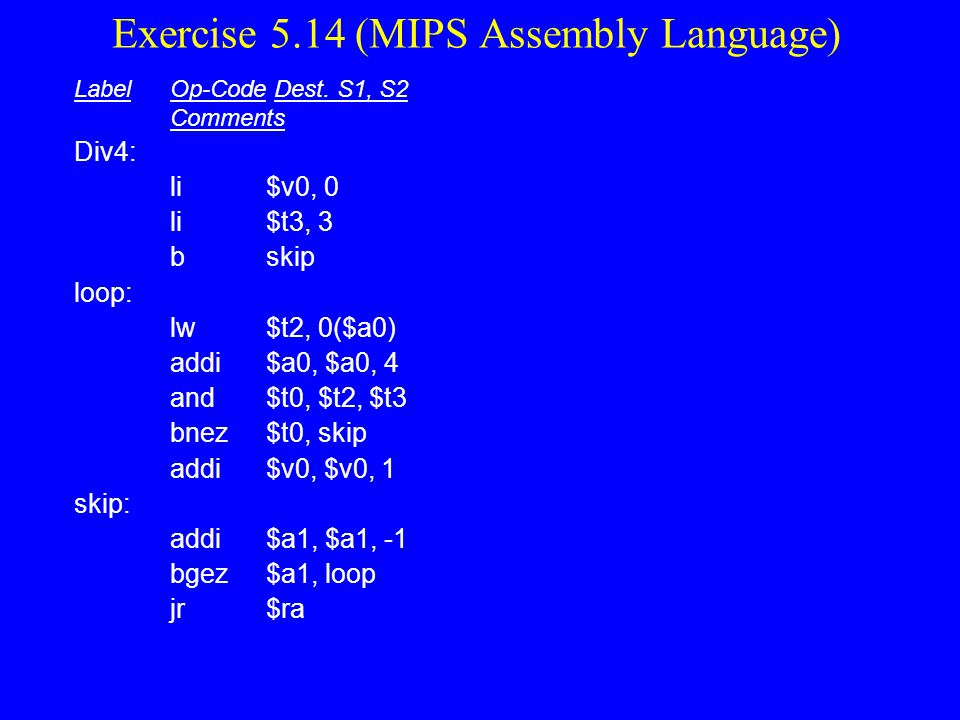 Exercise 5.14 (MIPS Assembly Language)