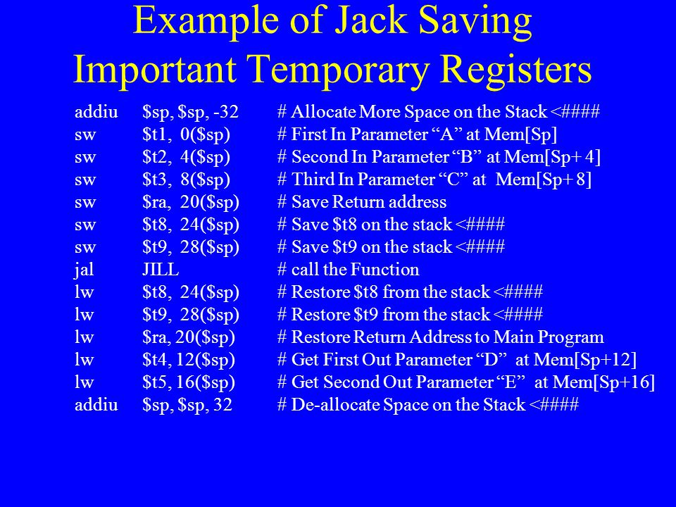 Example of Jack Saving Important Temporary Registers