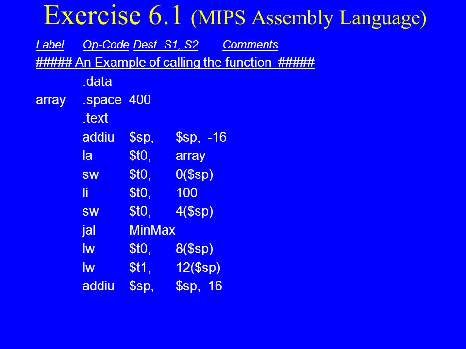 Exercise 6.1 (MIPS Assembly Language)