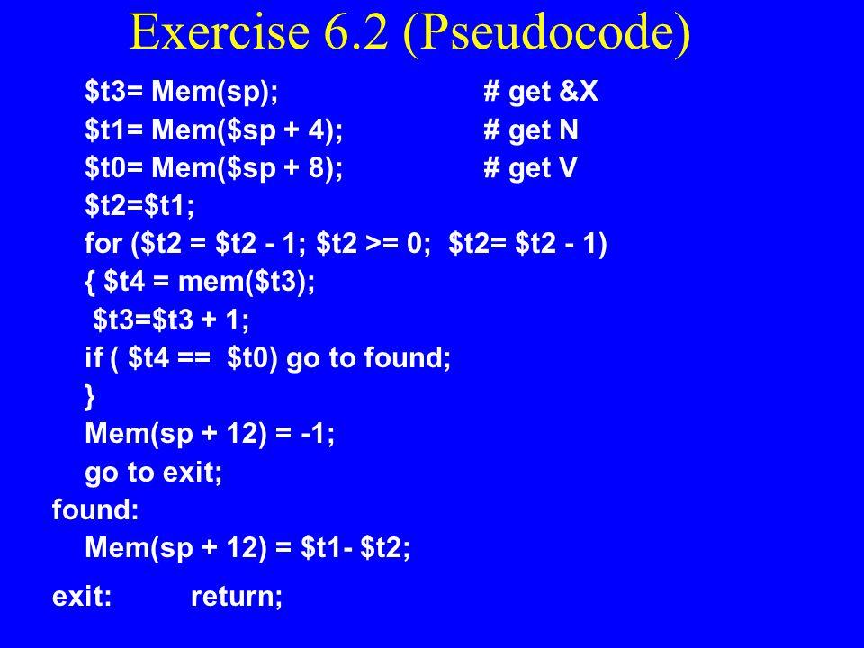 Exercise 6.2 (Pseudocode)
