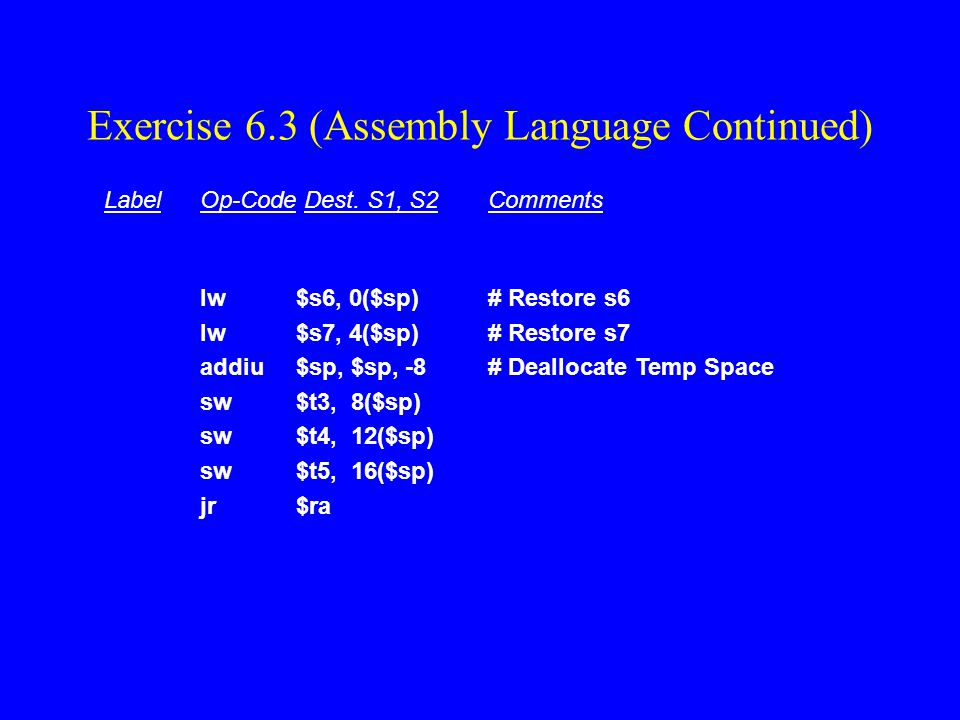 Exercise 6.3 (Assembly Language Continued)