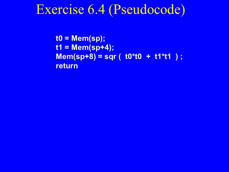 Exercise 6.4 (Pseudocode)