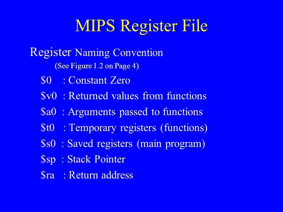 MIPS Register File Register Naming Convention $0 : Constant Zero