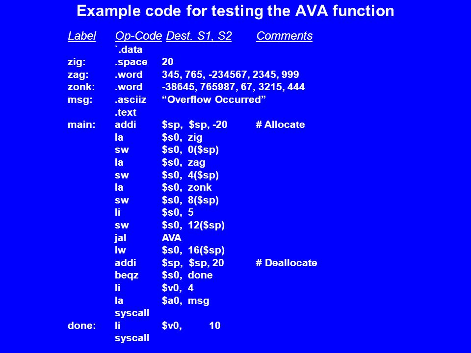 Example code for testing the AVA function