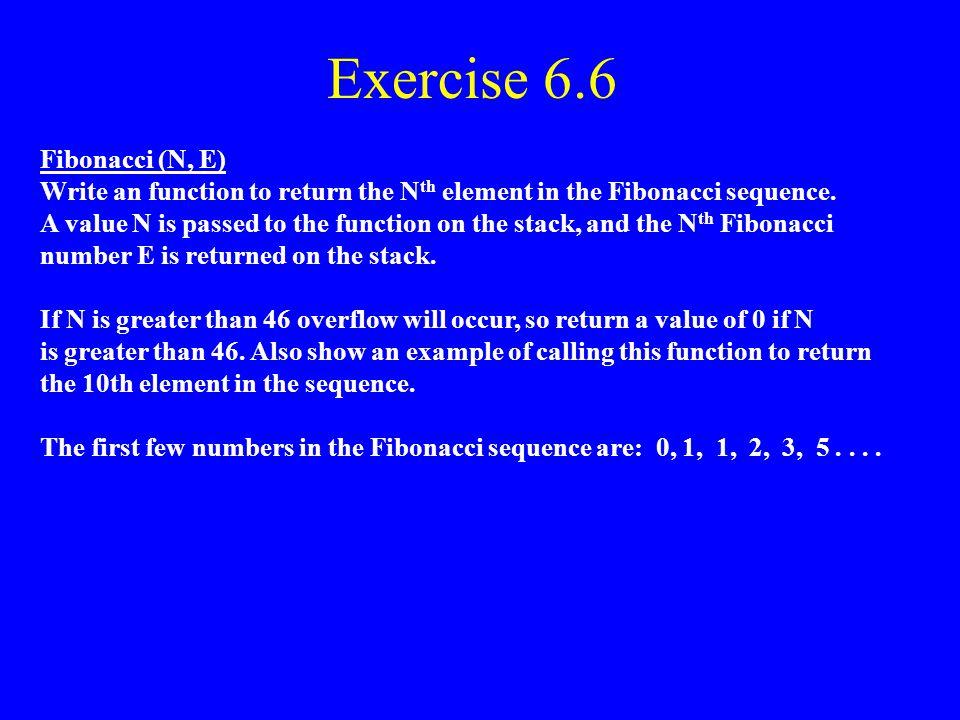 Exercise 6.6 Fibonacci (N, E)