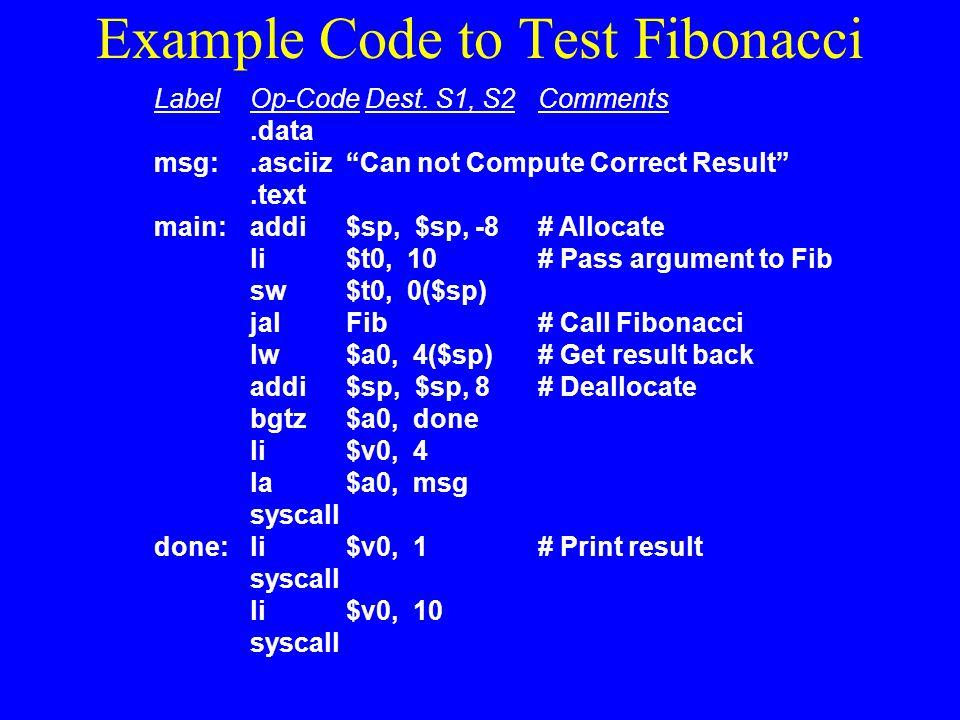 Example Code to Test Fibonacci
