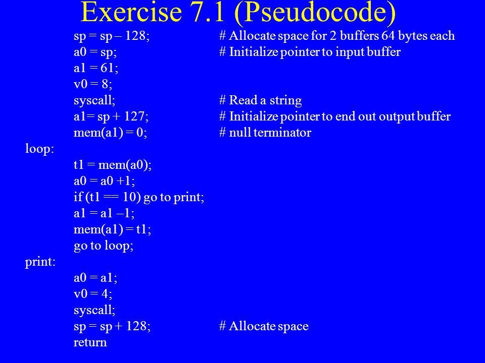 Exercise 7.1 (Pseudocode)