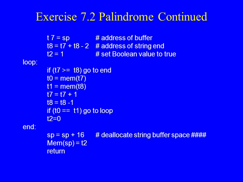Exercise 7.2 Palindrome Continued