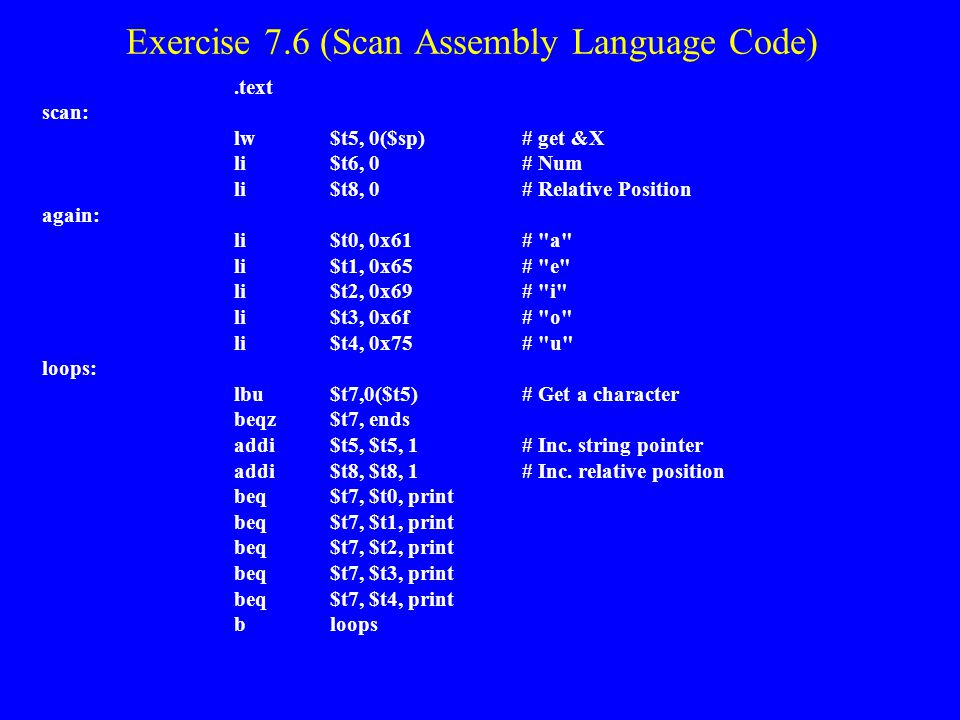 Exercise 7.6 (Scan Assembly Language Code)