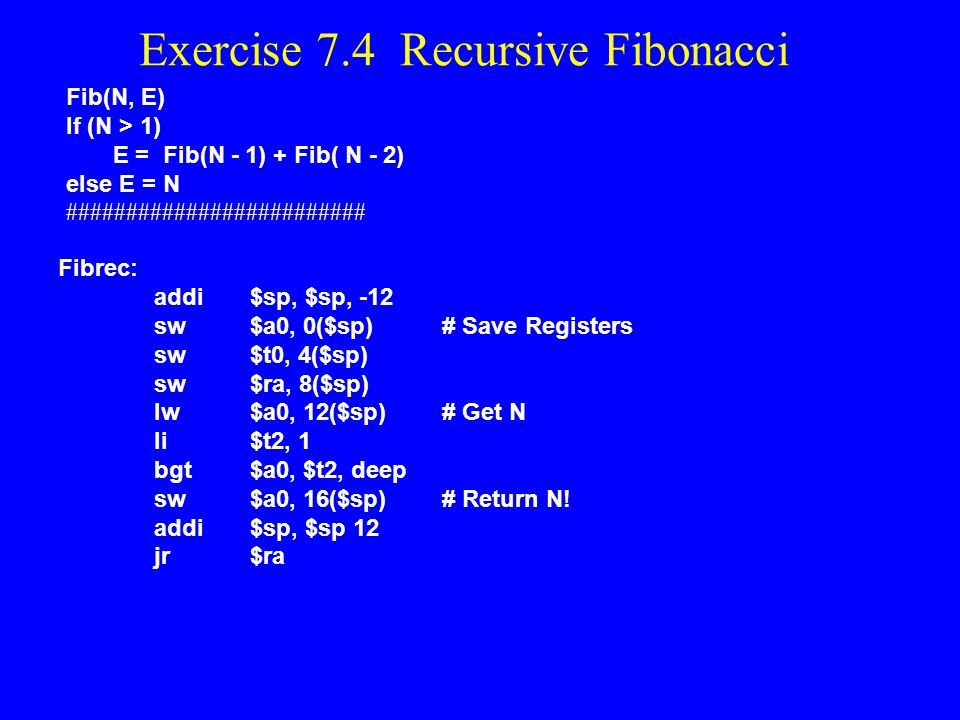 Exercise 7.4 Recursive Fibonacci