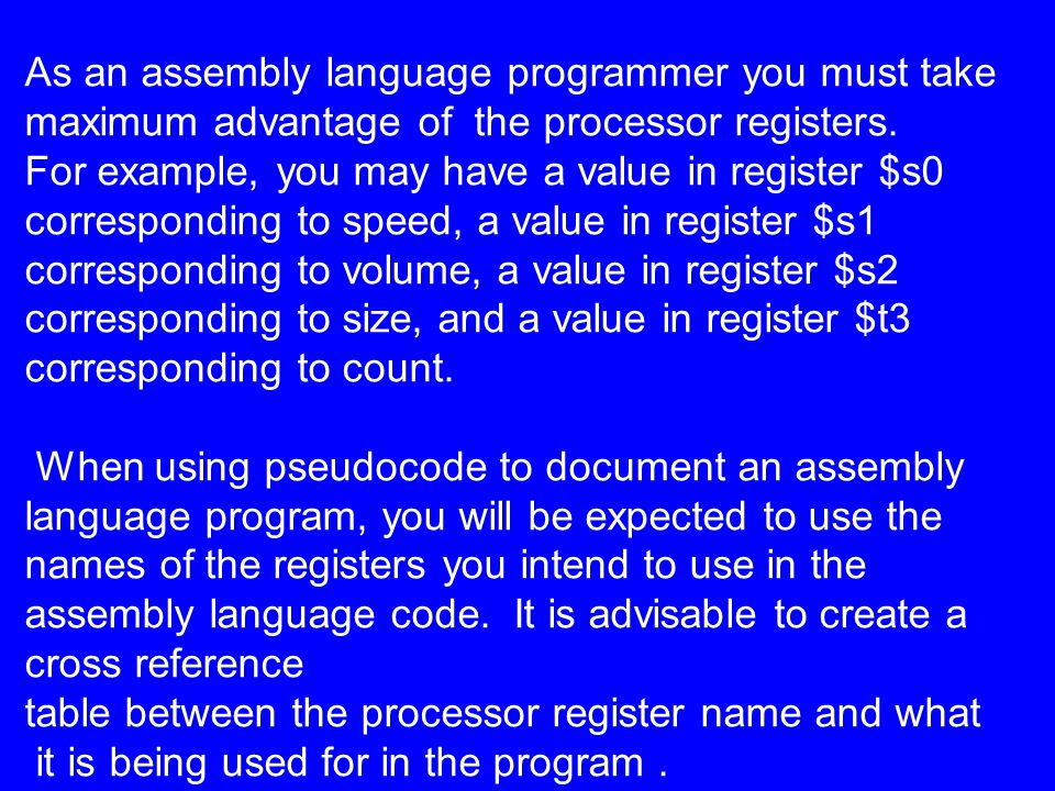 As an assembly language programmer you must take