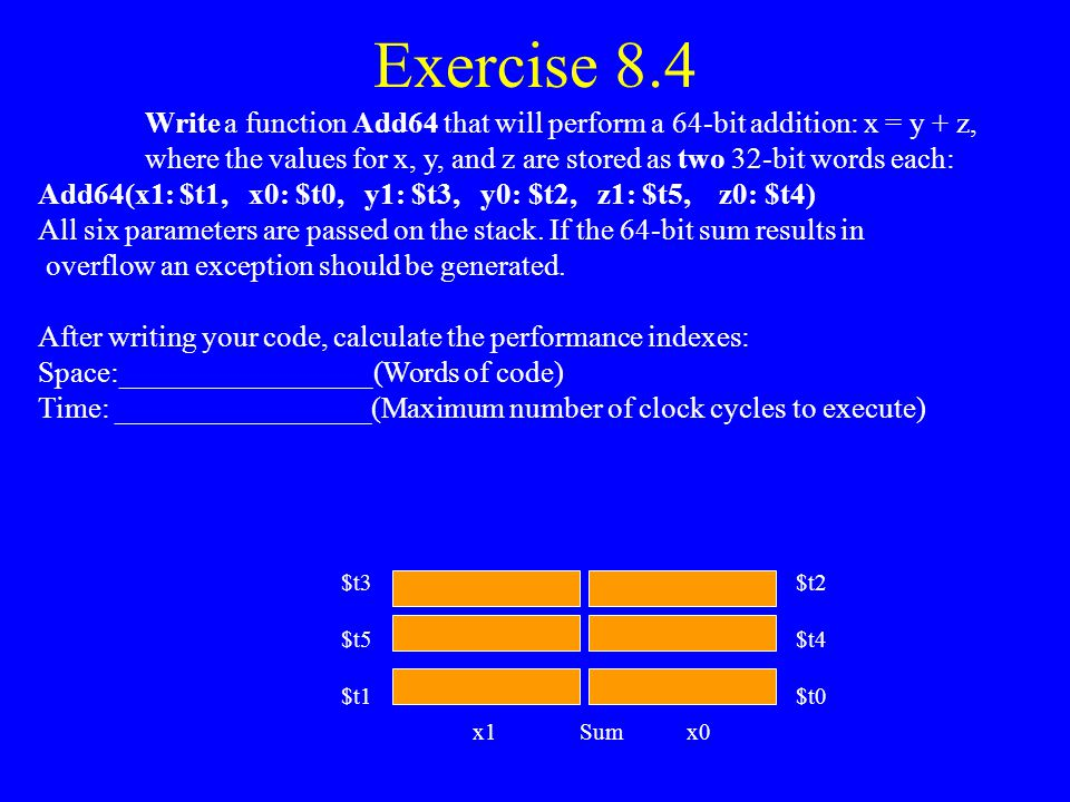 Exercise 8.4 Write a function Add64 that will perform a 64-bit addition: x = y + z,