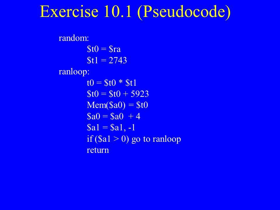 Exercise 10.1 (Pseudocode)