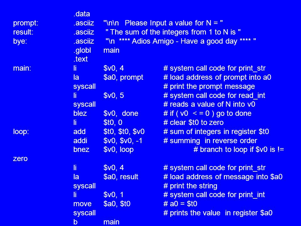 data prompt:. asciiz. \n\n Please Input a value for N = result: