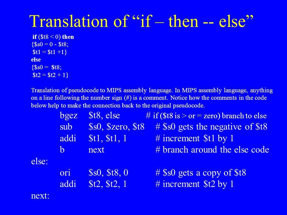 Translation of if – then -- else