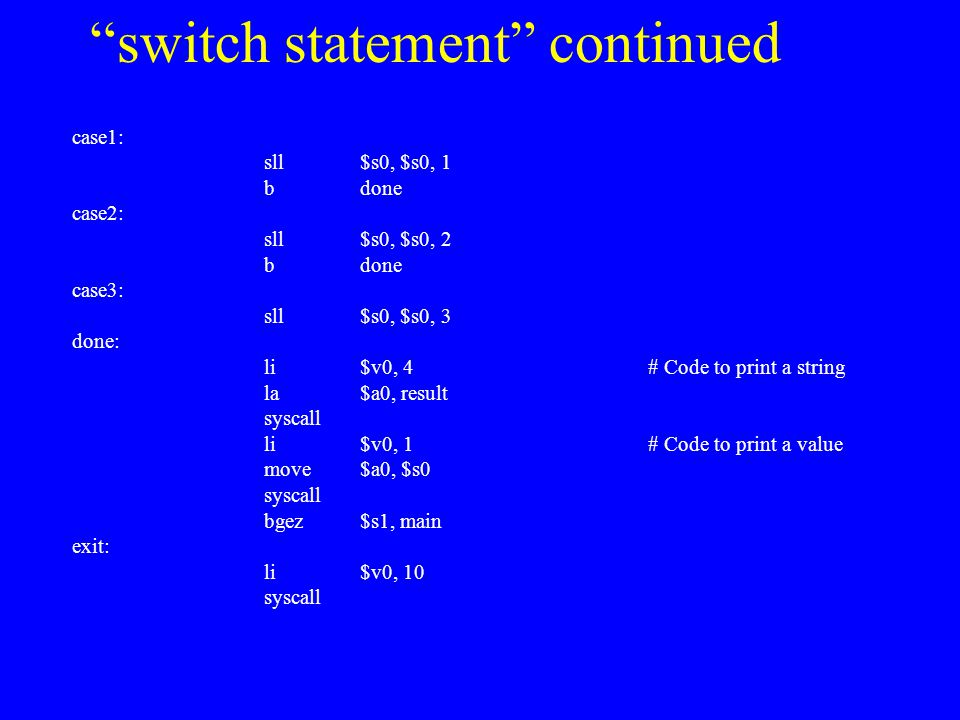 switch statement continued