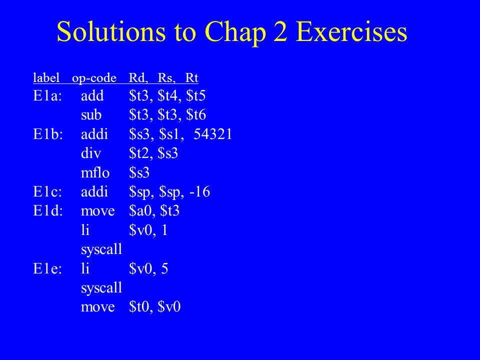Solutions to Chap 2 Exercises