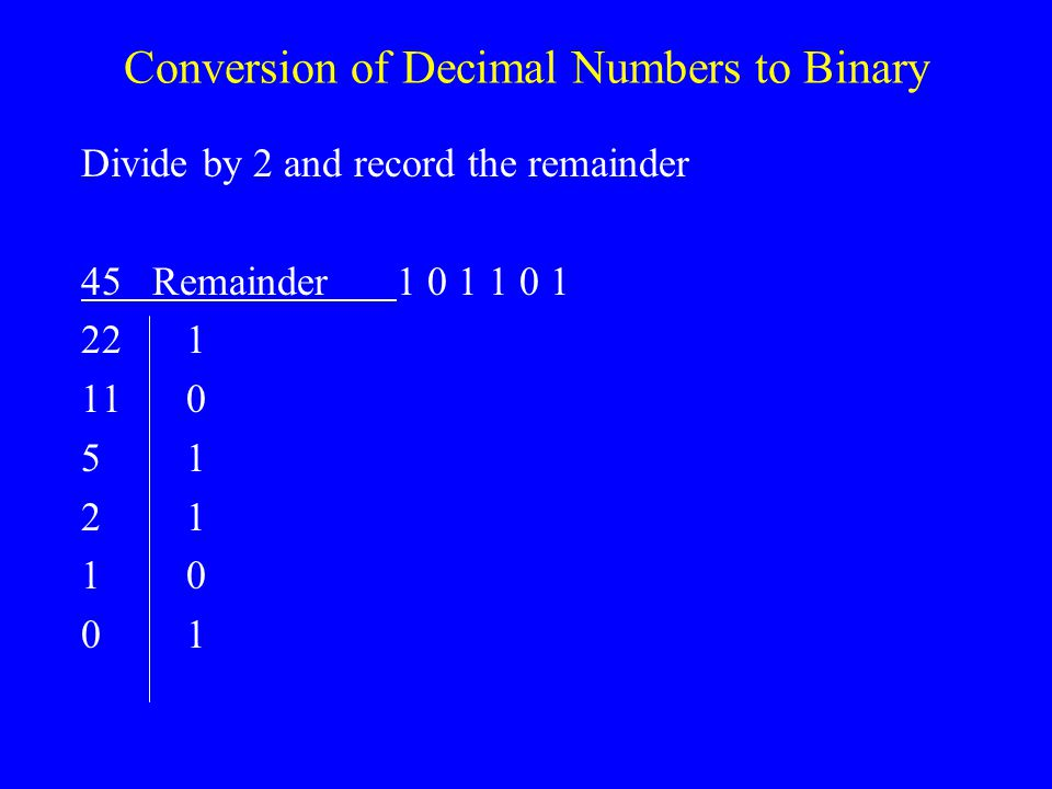 Conversion of Decimal Numbers to Binary
