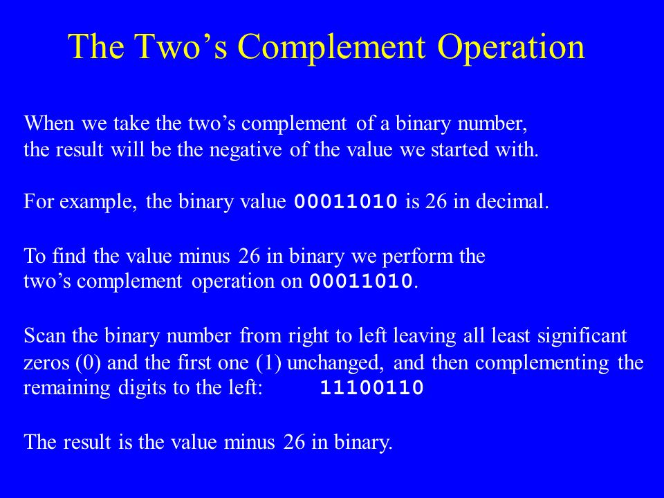 The Two's Complement Operation