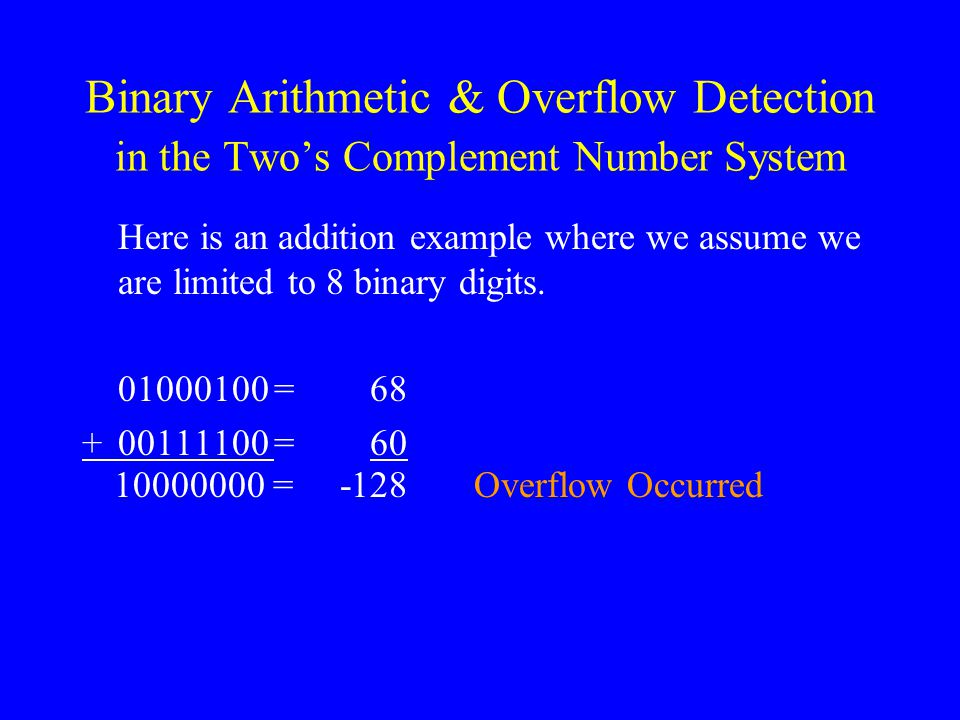 Binary Arithmetic & Overflow Detection in the Two's Complement Number System