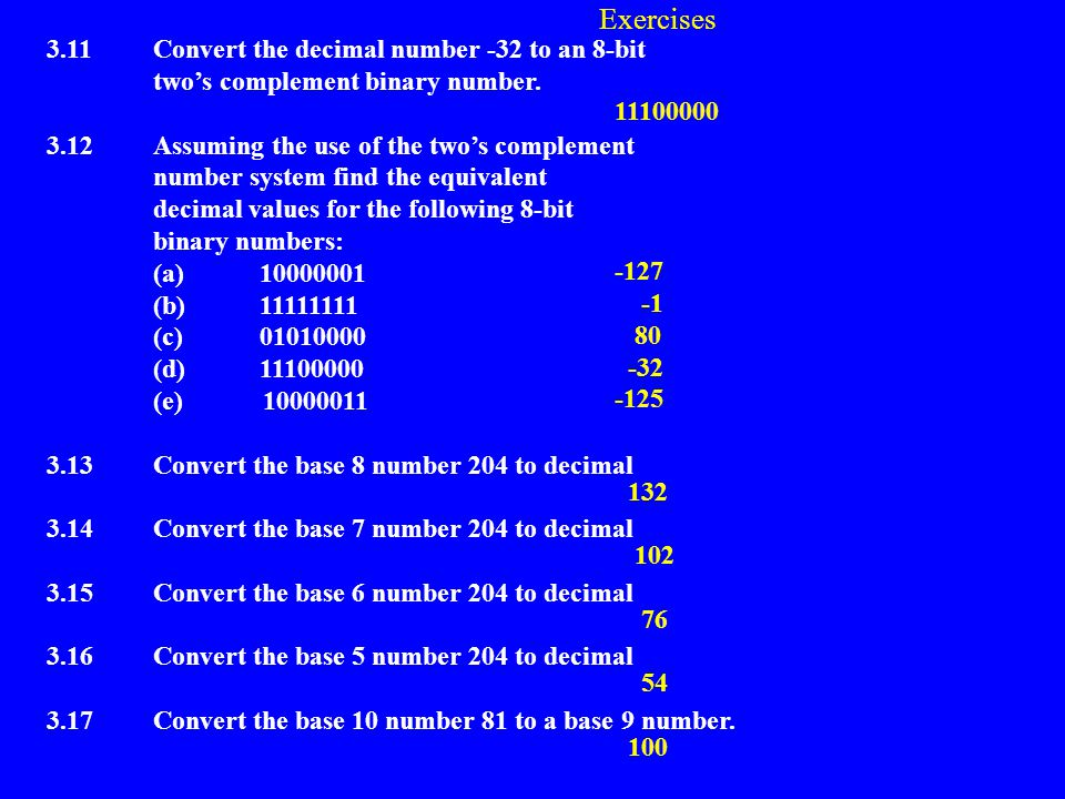 Exercises 3.11 Convert the decimal number -32 to an 8-bit