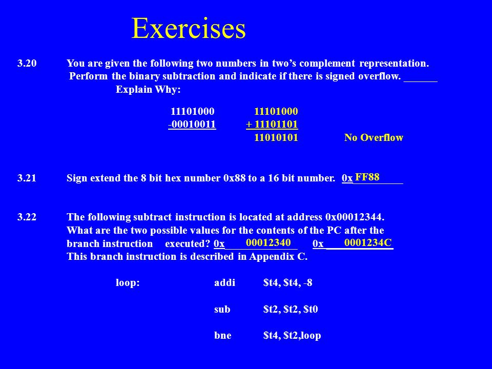 Exercises 3.20 You are given the following two numbers in two's complement representation.
