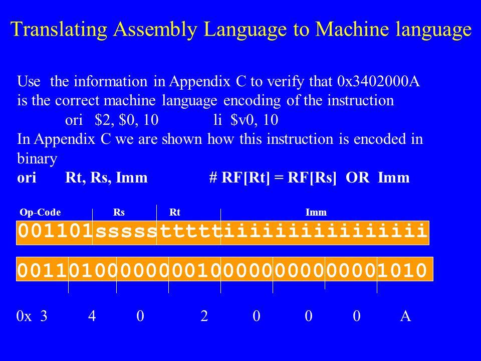 Translating Assembly Language to Machine language